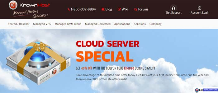 Knownhost managed cloud kvm hosting deal