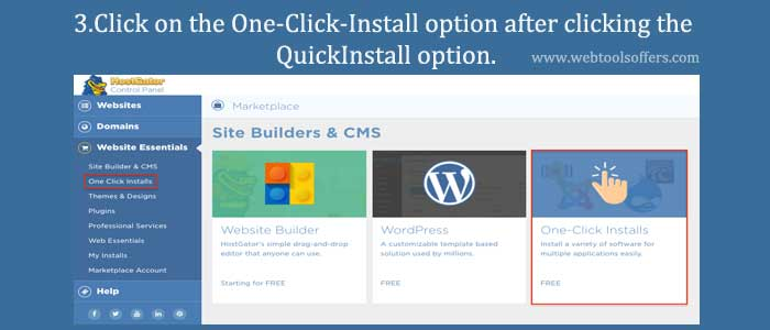 Click on the One-Click-Install option after clicking the QuickInstall option