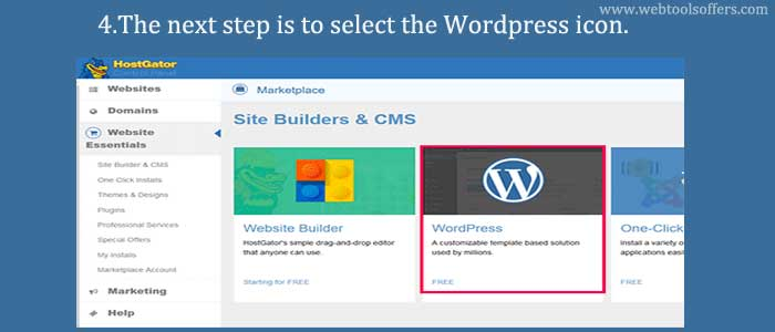 The next step is to select the WordPress icon
