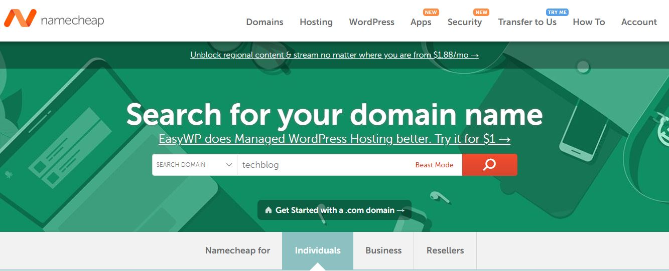 Steps to search for the desired domain name