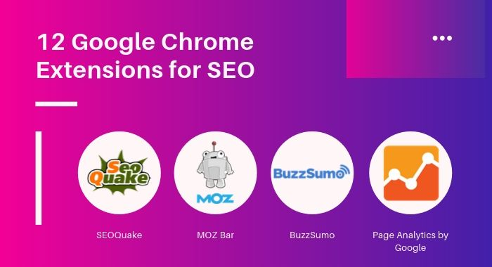 Buzzsumo, SEOQuake, Moz & Page Analytics by Google chrome extensions tool