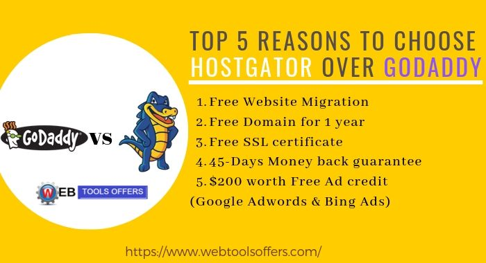 5 reasons why chooose HostGator vs Godaddy