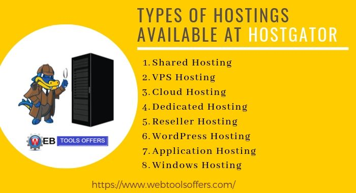 Types of hosting available at HostGator