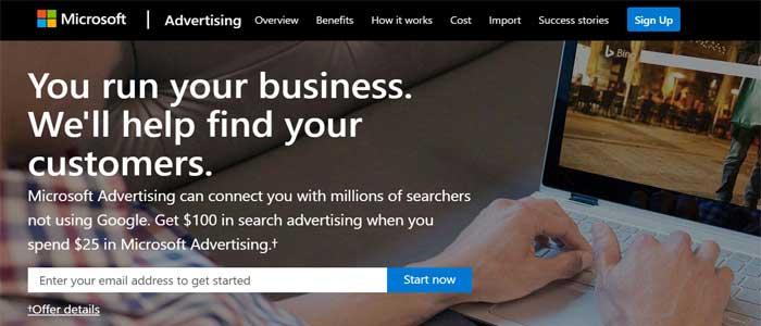 $100 free Microsoft Bing Ads Credits