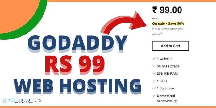 GoDaddy 99 Rs Web hosting& Domain Plan