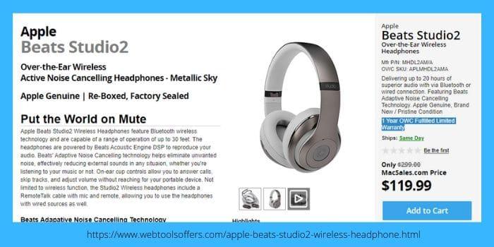 OWC MacSales Apple Beats Studio2 Wireless Headphone
