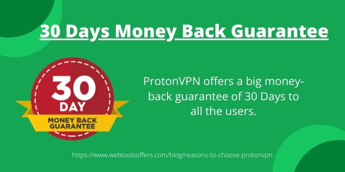 Reasons to Choose ProtonVPN Over Other VPN Software- 30 days money back guarantee