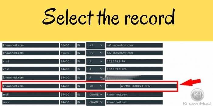 Select record