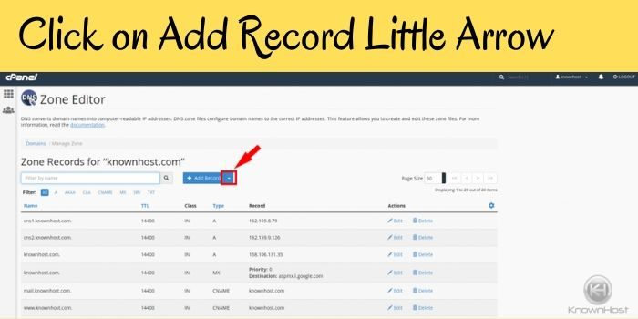 click on the Add Record arrow