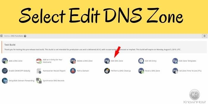 select edit DNS Zone
