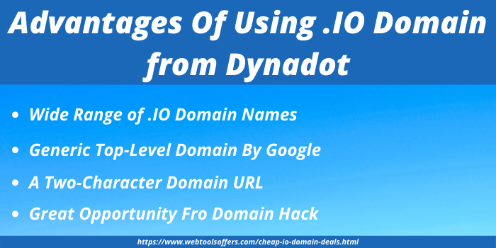 Cheap .IO Domain Discount - Advantages of using .IO Domain with Dynadot