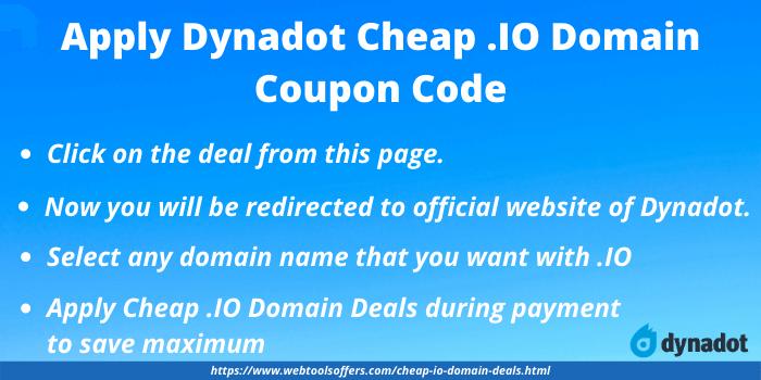 Dyandot Cheap .Io Coupon Code - Steps for applying cheap .IO coupon code