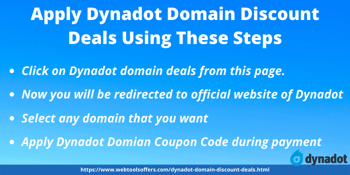 Steps for applying Dynadot Domain Discount Deals
