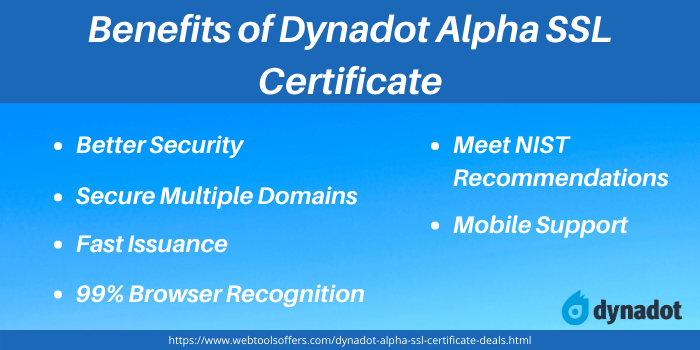 Dynadot Promo Code- Benefits of Dynadot Alpha SSL Certificate