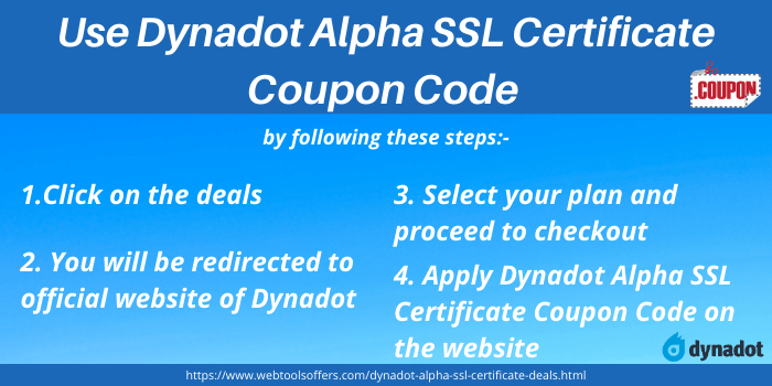Steps to use Dynadot Alpha SSL Certificate Coupon Code